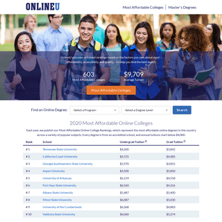 OnlineU- Rankings of the Most Affordable Online Colleges