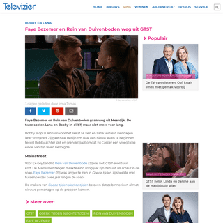 Faye Bezemer en Rein van Duivenboden weg uit GTST - Televizier.nl