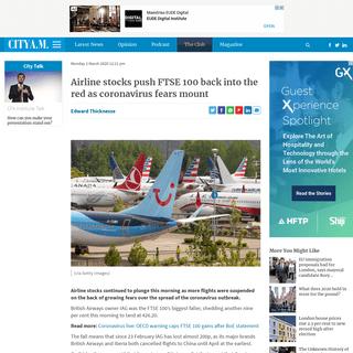 ArchiveBay.com - www.cityam.com/airline-stocks-push-ftse-100-back-into-the-red-as-coronavirus-fears-mount/ - Airline stocks push FTSE 100 back into the red as coronavirus fears mount - CityAM