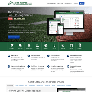 Run your Football, March Madness, Baseball, Golf, and other pools at RunYourPool.com
