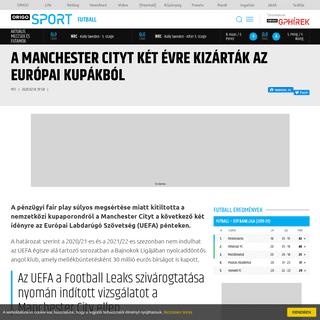 ArchiveBay.com - www.origo.hu/sport/futball/20200214-a-manchester-city-ket-idenyre-kizartak-az-europai-kupakbol-a-penzugyi-fair-play-megsertese-miatt.html - A Manchester Cityt két évre kizárták az európai kupákból