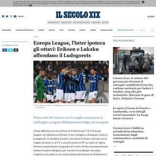Europa League, l'Inter ipoteca gli ottavi- Eriksen e Lukaku affondano il Ludogorets - Il Secolo XIX