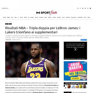 ArchiveBay.com - www.sportfair.it/2020/02/risultati-nba-tripla-doppia-lebron-james-lakers-trionfano-supplementari/1007973/ - Risultati NBA - Tripla doppia per LeBron James- i Lakers trionfano ai supplementari