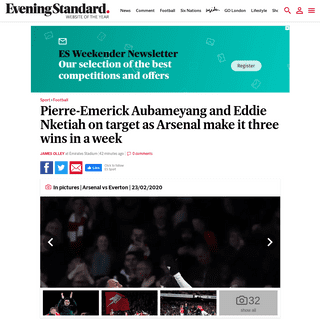 Pierre-Emerick Aubameyang and Eddie Nketiah on target as Arsenal make it three wins in a week - London Evening Standard