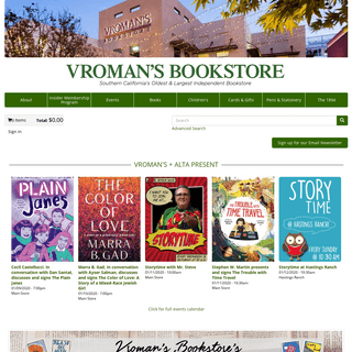 Vroman's Bookstore - Southern California's oldest and largest independent bookstore.