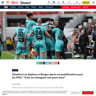Charleroi se déplace à Bruges après sa qualification pour les PO1- -Cela ne changera rien pour nous- - DH Les Sports+