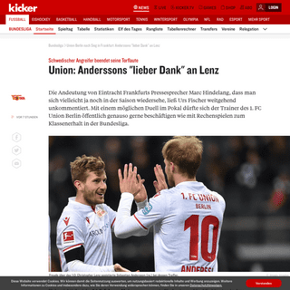 Union Berlin nach Sieg in Frankfurt- Anderssons -lieber Dank- an Lenz - kicker