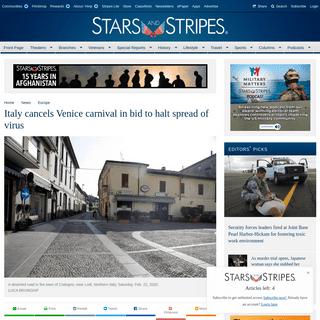 Italy cancels Venice carnival in bid to halt spread of virus - Europe - Stripes