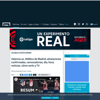 Valencia vs. Atlético de Madrid- alineaciones confirmadas, convocatorias, día, hora, noticias, cómo verlo y TV - Goal.com