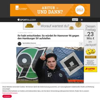 Ihr habt entschieden- So würdet Ihr Hannover 96 gegen den Hamburger SV aufstellen - Sportbuzzer.de