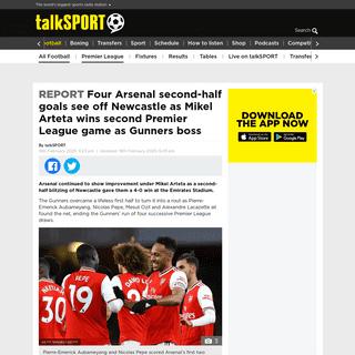 Four Arsenal second-half goals see off Newcastle as Mikel Arteta wins second Premier League game as Gunners boss