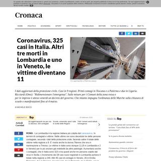 Coronavirus, 325 casi in Italia. Altri tre morti in Lombardia e uno in Veneto, le vittime diventano 11 - la Repubblica