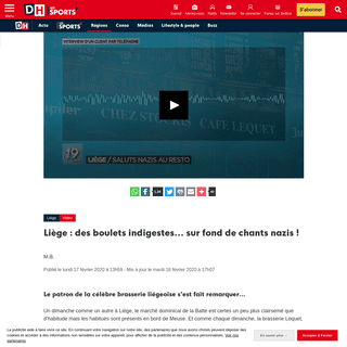 Liège - des boulets indigestes... sur fond de chants nazis ! - DH Les Sports+