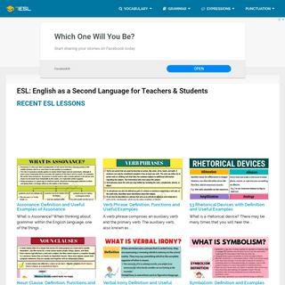 ESL- English as a Second Language for Teachers & Students - 7 E S L