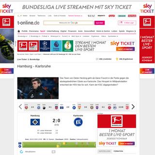 Hinterseer trifft zum 2-0! Hamburger SV - KSC im Live-Ticker