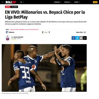 EN VIVO- Millonarios vs. Boyacá Chico por la Liga BetPlay - Bolavip