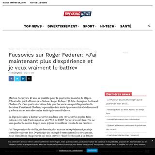 Fucsovics sur Roger Federer- «J'ai maintenant plus d'expérience et je veux vraiment le battre» -