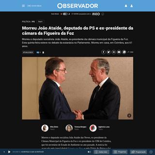 ArchiveBay.com - observador.pt/2020/02/21/morreu-o-deputado-do-ps-joao-ataide/ - Morreu João Ataíde, deputado do PS e ex-presidente da câmara da Figueira da Foz – Observador