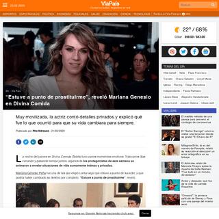 """""""Estuve a punto de prostituirme"""", reveló Mariana Genesio en Divina Comida - Vía País"""