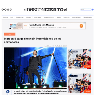 Maroon 5 exige show sin intromisiones de los animadores - El Desconcierto