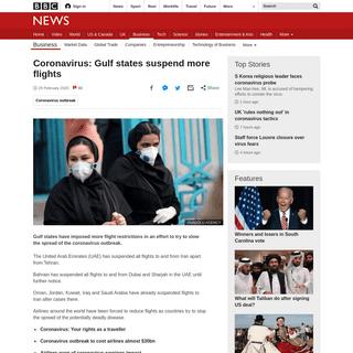 Coronavirus- Gulf states suspend more flights - BBC News