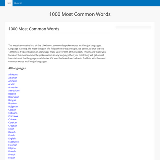 1000 Most Common Words