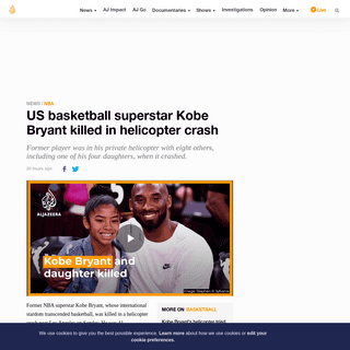 US basketball superstar Kobe Bryant killed in helicopter crash - News - Al Jazeera
