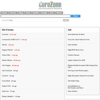 Alternative Medicine Forums, Blogs, News, FAQs, Surveys, Knowledgebase on curezone.org