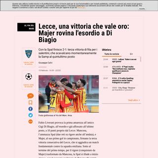 ArchiveBay.com - www.gazzetta.it/Calcio/Serie-A/Lecce/15-02-2020/lecce-vittoria-che-vale-oro-majer-rovina-esordio-di-biagio-360962038012.shtml - Serie A, Lecce-Spal 2-1- in gol Mancosu, Petagna e Majer - La Gazzetta dello Sport - Tutto il rosa della vita