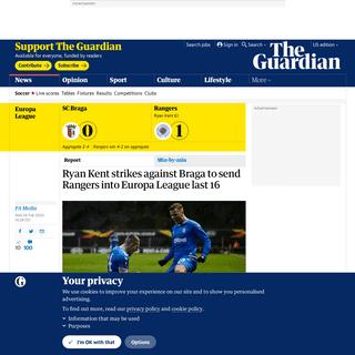 Ryan Kent strikes against Braga to send Rangers into Europa League last 16 - Football - The Guardian