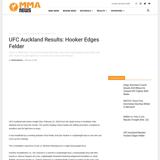 UFC Auckland Results- Hooker Edges Felder