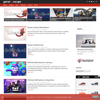 Gamer Escape- Gaming News, Reviews, Wikis, and Podcasts – Gaming Community featuring News, Reviews, Wikis, and Podcasts