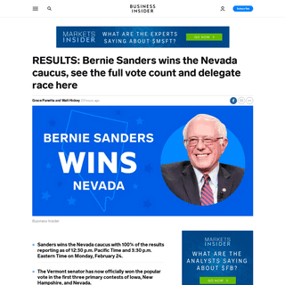 Bernie Sanders wins Nevada caucuses- live updated results, vote counts - Business Insider