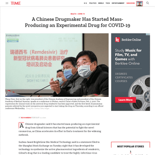 Chinese Drugmaker Mass-Producing Experimental COVID-19 Drug - Time