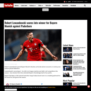 Robert Lewandowski scores late winner for Bayern Munich against Paderborn - FourFourTwo