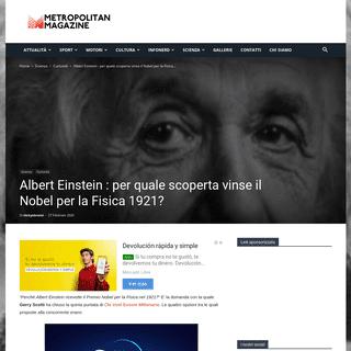 Albert Einstein - per quale scoperta vinse il Nobel per la Fisica 1921-
