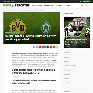 Werder Bremen x Borussia Dortmund Ao vivo- Assistir o jogo online! - Rede Esportes