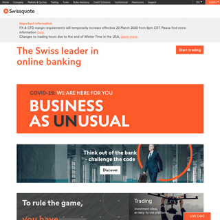 Swissquote- Trade Markets with the Swiss Leader in Online Banking