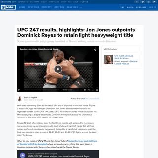 UFC 247 results, highlights- Jon Jones outpoints Dominick Reyes to retain light heavyweight title - CBSSports.com