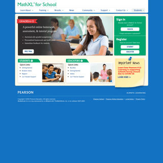 MathXL for School- K-12 students and teachers