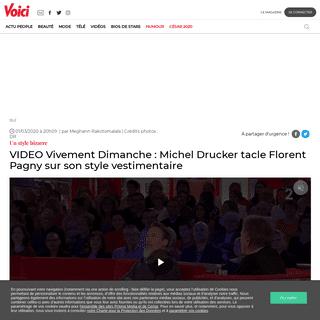 VIDEO Vivement Dimanche- Michel Drucker tacle Florent Pagny sur son style vestimentaire - Voici