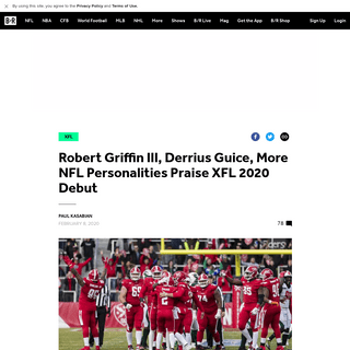 ArchiveBay.com - bleacherreport.com/articles/2875432-robert-griffin-iii-derrius-guice-more-nfl-personalities-praise-xfl-2020-debut - Robert Griffin III, Derrius Guice, More NFL Personalities Praise XFL 2020 Debut - Bleacher Report - Latest News, Videos and High