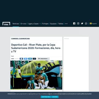 Deportivo Cali - River Plate, por la Copa Sudamericana 2020- Formaciones, día, hora y TV - Goal.com