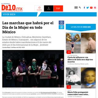 Las marchas que habrá por el Día de la Mujer en todo México - De10