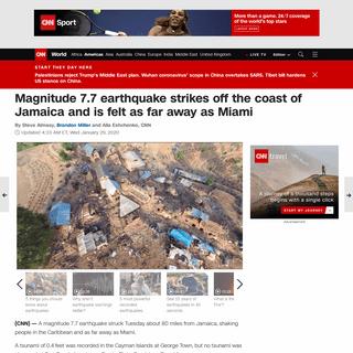 Jamaica earthquake- Magnitude 7.7 tremor is felt as far away as Miami - CNN