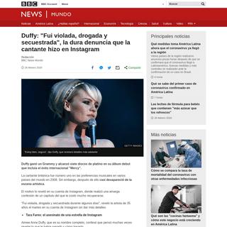 Duffy- -Fui violada, drogada y secuestrada-, la dura denuncia que la cantante hizo en Instagram - BBC News Mundo