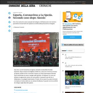 Liguria, Coronavirus a La Spezia. Secondo caso dopo Alassio - Corriere.it