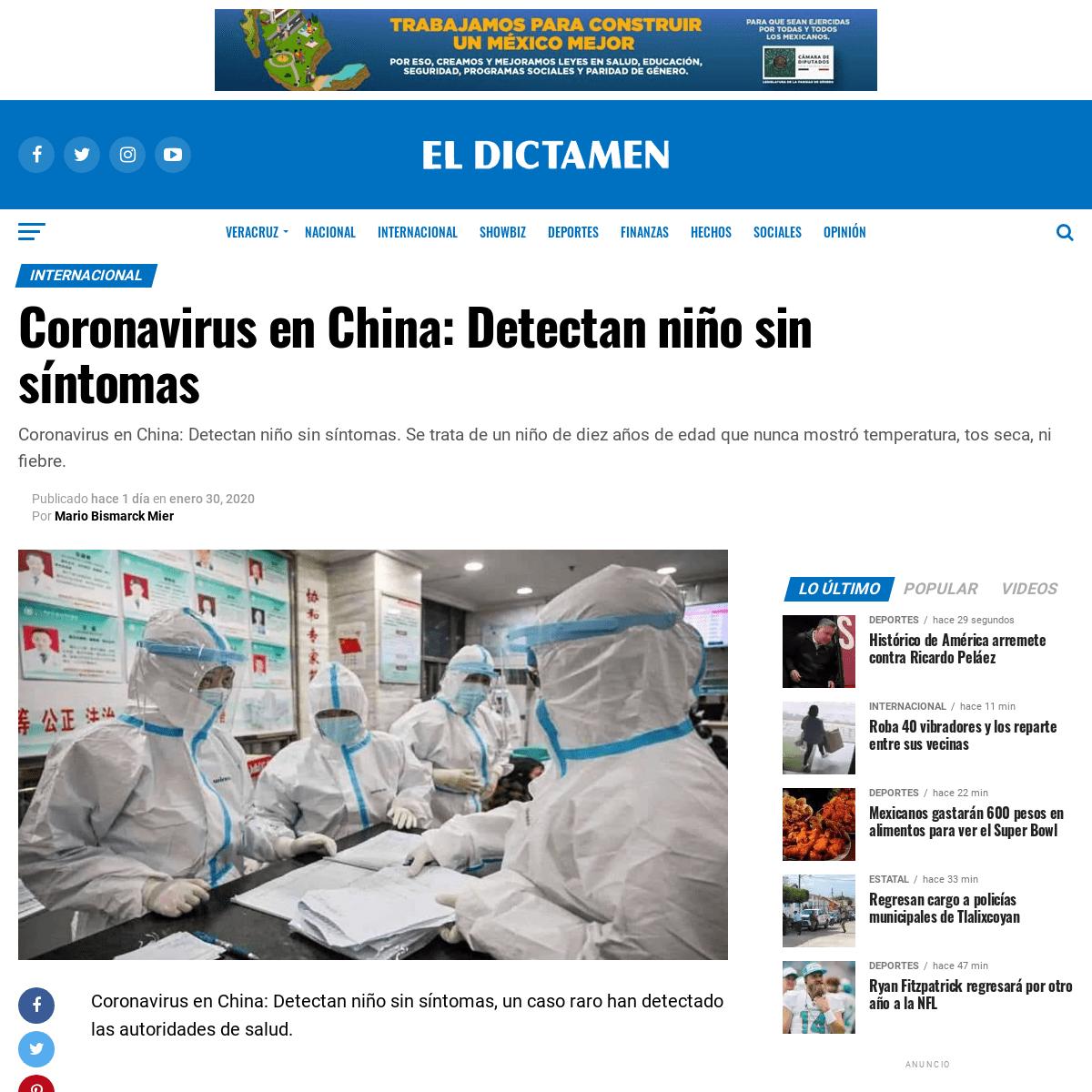 Coronavirus en China- Detectan niño sin síntomas - El Dictamen