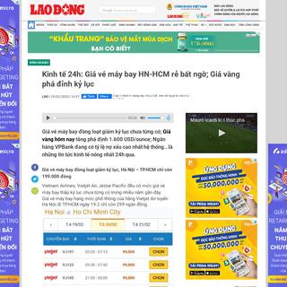 Kinh tế 24h- Giá vé máy bay HN-HCM rẻ bất ngờ; Giá vàng phá đỉnh kỷ lục - Lao Động Online - LAODONG.VN -