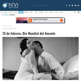 13 de febrero, Día Mundial del Amante - nvinoticias.com